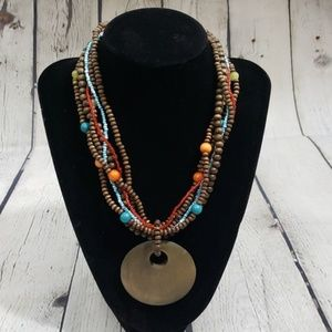 VINTAGE BEADED MULTI STRAND WOOD CIRCLE NECKLACE